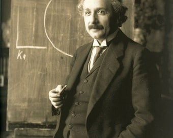 Albert Einstein, 1921, Chalkboard, Sepia Tone, Photo Print