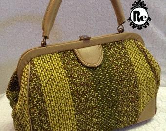 Vintage Handbag Purse Yellow Green & Brown Tweed Purse with Vinyl Banding No. 32