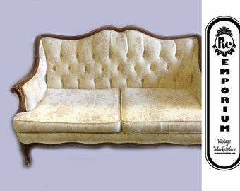 Vintage French Providential Tufted Back Settee with Wood Trim No. 1