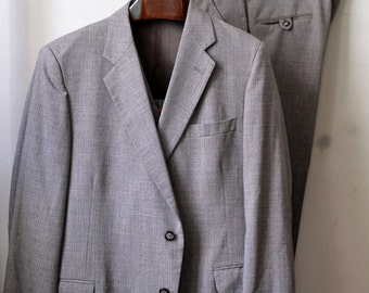 Vintage Early 1970s ANDERSON-LITTLE Brown Pinstripe 3 PIECE Suit Jacket Vest Waistcoat Trousers Approximately Size 46