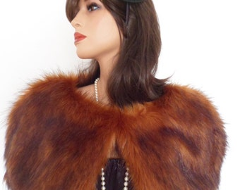 fox fur capelet, burnt orange stole, fake fur wrap, shrug, shawl