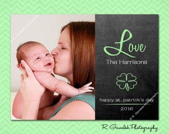 Love on St. Patty's Day, St. Patricks Day Photo Card, Custom Digital Printable