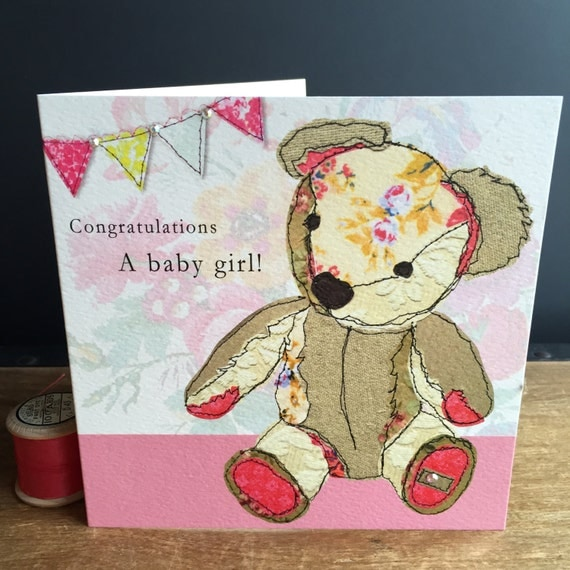 Teddy Girl-Greeting Card- handfinished