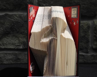 Hand Folded Book Art - Saluting Soldier