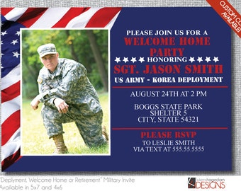 Military Party Invitation with Picture - Deployment, Welcome Home or Retirement - American Flag