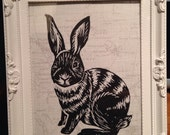 Handmade bunny rabbit Lino print, white frame, modern, shabby chique, Christmas present