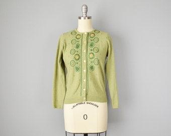 SALE 50% 50s Sweater // 1950s Embroidered Green Wool Cardigan // Medium