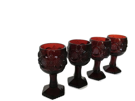 Avon red glass goblets small Christmas candle holders cape cod design