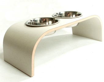 Beige Canvas Raised Pet Feeder - Curved Design available in various sizes