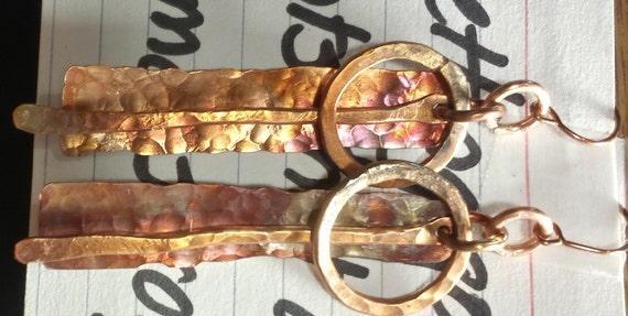 Freeform Copper Earrings BOHO