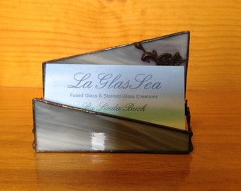 Stained Glass Wispy Gray Business Card Holder