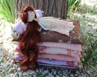 The Princess and the Pea, cloth doll, art doll, OOAK, doll and bed