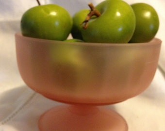 Pink Opaque Footed Compote Dish