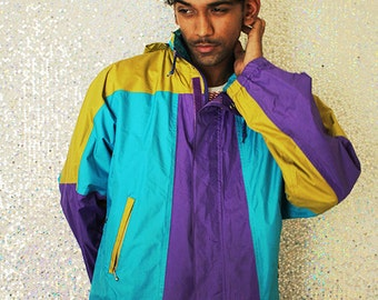 89' Alien Anorak // Mens Rain Coat Medium 80s 90s Vintage Rare Color Block Hooded Water Resistent
