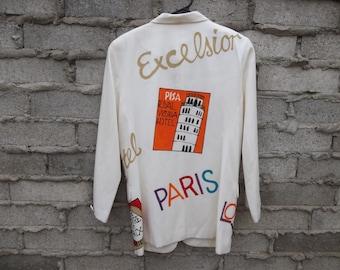Vintage Travel Jacket Souvenir Blazer 1990s 80s London Paris Hand Painted Original Design Hipster Swag Fresh Prince Dope sz Medium