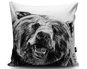 Bear Cushion, Bear Pillow, Grizzly Bear Cushion Cover, Bear Pillow Case, Bear Illustration, Soft Vegan Suede Cushion, Bear Bedding by Bex