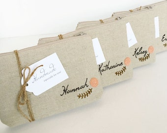 Set of 7 Personalized Cosmetic Bags, Monogrammed Bridal Party Gifts, Choose Quantity and Flower Color