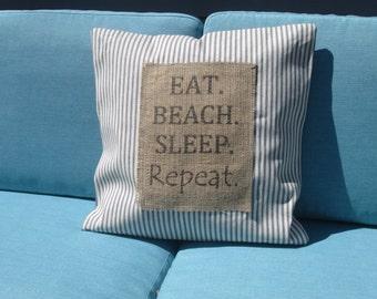 """Eat Sleep Beach 18"""" Throw Pillow Cover"""