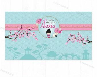 Kokeshi Doll Printable Backdrop, Birthday Backdrop, Kids Birthday Backdrop, Japanese Birthday Backdrop, Girl Birthday Backdrop
