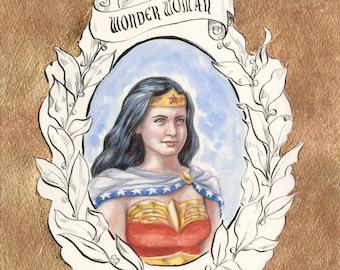 Wonder Woman//DC//Portrait//Red//Gold//Watercolor//Painting//Print//A3