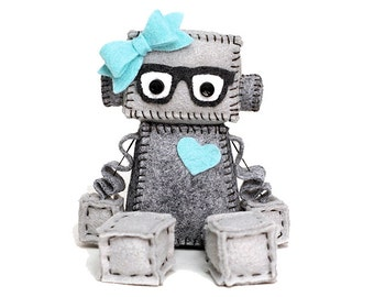 Geek Girl Robot with Heart and Bow, Nerdy Glasses in Grey and Pick Your Color Accessories