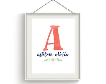 Personalized Name Wall Art, Nursery, Bedroom Decor, Baby Shower, 8x10, 11x14, Watecolor