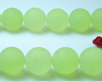 32 pcs of Prehnite Jade matte round beads in 12mm