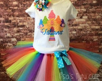 Candy land tutu. Candy land birthday tutu. Candy land birthday set. Rainbow tutu.