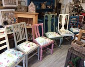 Dining Chairs Painted Distressed Floral Pastel Shabby Country Chairs