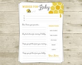 Wishes for Baby Shower Game - Advice - Baby Predictions - Mama to Bee or Parents to Bee Shower Bee Neutral Theme