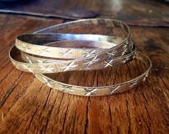 Four Vintage Sterling Silver Bangle Bracelets