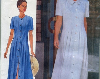 Button Front Dress Patterns 1990s Butterick 4877 Womens Dress A-line Dress Pattern Size 6-10, uncut