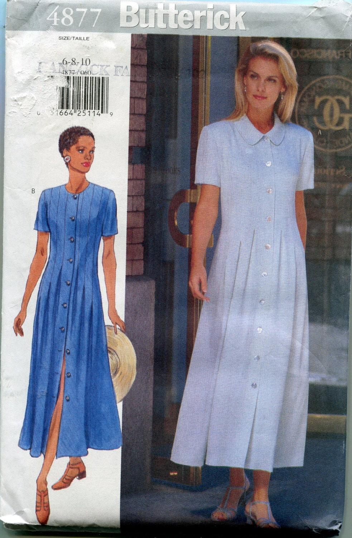 Button Front Dress Patterns 1990s Butterick 4877 Womens