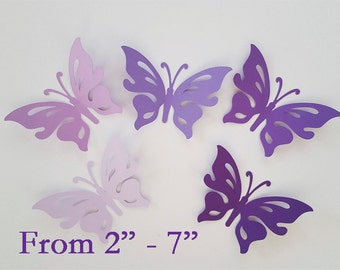 """Large paper butterfly die cuts /purple colors / 15 pc. set /   size from 2"""" to 7"""" / big butterfly die cuts"""