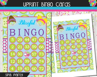 Spa Party Bingo Cards  - Blissful Bingo Cards - Instant Download Printable - Set of 18 Cards -