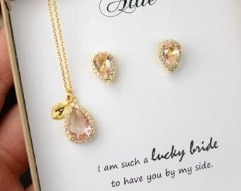 Blush peach blush champagne pink Bridesmaid Jewelry Weddings Bridesmaid Earrings Bridesmaid Gift Bridal Earrings Jewelry Wedding Jewelry