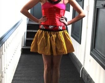Alternative Punk Grunge Yellow Black Skater Skirt Stripes
