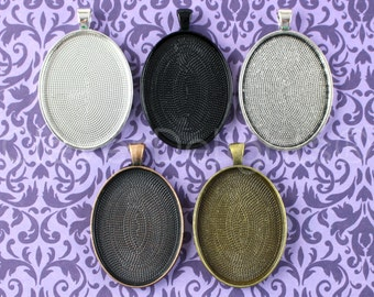 20 Pendant Trays 30x40mm - Mix and Match - Antique Bronze Copper Silver Black - Vintage Style Oval Pendant Blanks Cabochon Settings