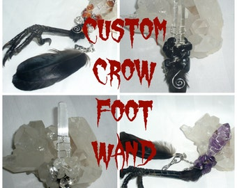 Custom Made Crow Foot Crystal Wand Wire Wrapped, Bird Claw, Curio, curiosity, taxidermy, goth, gift, birthday, for him, for her.