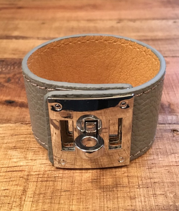 Grey Leather Buckle Cuff Silver Hardware