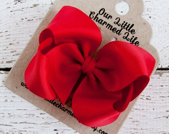 Holiday Hair Bow, Red Hair Bow, Red Boutique Hair Bow, Red Hairbow, Red Bow, Red Hair Clip, Valentine's Day Hair Bow, Christmas Hairbow