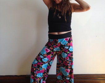 Black with Flowers Palazzo Pants