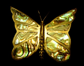 Final Clearance~ Mexican Silver and Abalone Butterfly Brooch