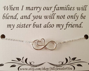 Sister Wedding Gift- Sister in Law Gift - Bridal Party Necklace- Wedding Jewelry - Sister Necklace - Bridal Gift - Infinity Heart Necklace