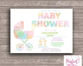 Watercolor Stroller Baby Shower Invitation