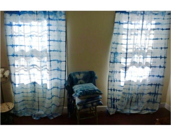 indigo dyed shibori drape curtain
