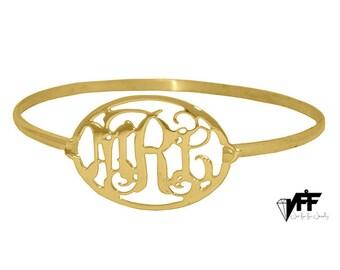 Personalized Gold Oval Monogram Bracelet - sterling silver custom Initial Bangle Bracelet, Initial Monogram Bracelet