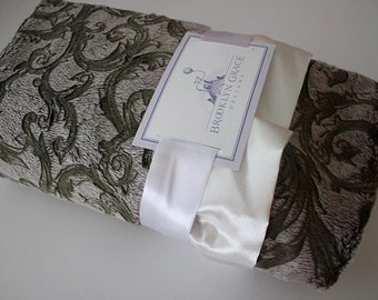 Olive Scroll Minky with Ivory Satin Blanket, Baby Boy or Girl, Nursery, Green, Crib Bedding
