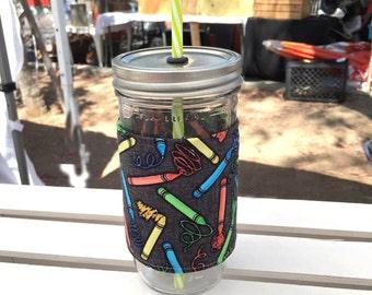 School Mason Jar Tumbler, Personalized Tumbler, Mason Jar Classroom