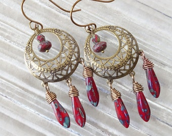 Boho gypsy hoop earrings w/ red czech glass/ Antique brass Moroccan chandelier hoop earring/ Bohemian gypsy nickel free earwires